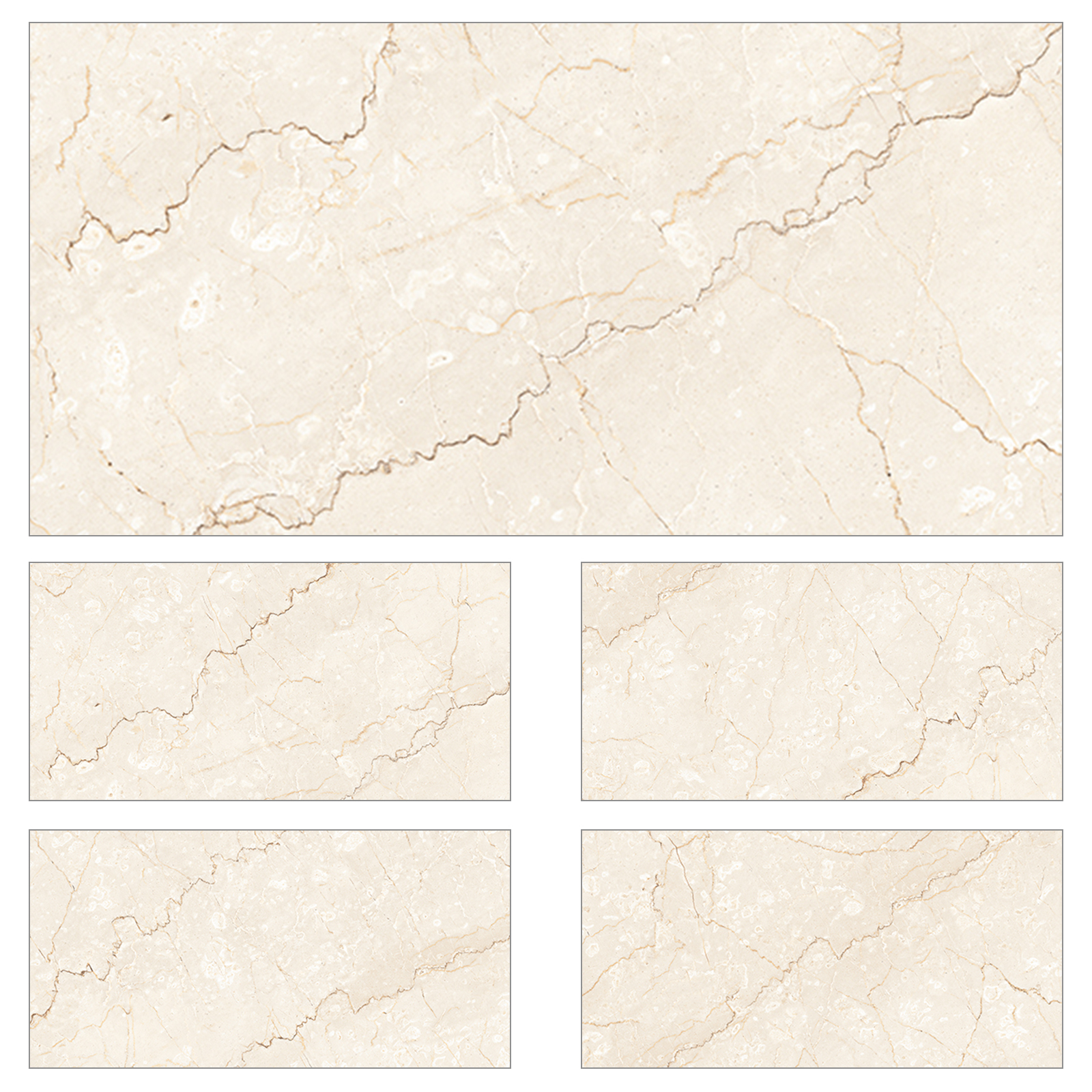 Natural Cream Gloss Porcelain Wall Floor Marble Look Tiles